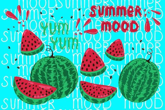 Banner zomerstemming sappige watermeloenen vectorillustratie in handgetekende stijl