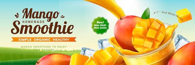 Banneradvertenties voor mango-smoothies