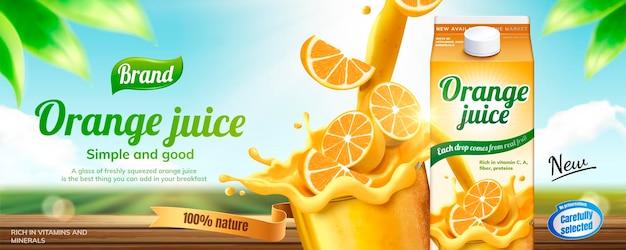 Banneradvertenties voor sinaasappelsap drink
