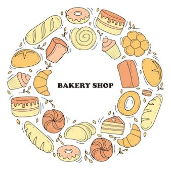 Bannerbakkerijproducten worden getekend in de stijl van doodles. zwart en wit brood, cake, monchik, croissant. vectorillustratie op een witte achtergrond.