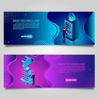 Bannerdata-technologie en big data-verwerking die gegevensbeveiligingsconcept voor isometrisch bedrijfsontwerp beschermen