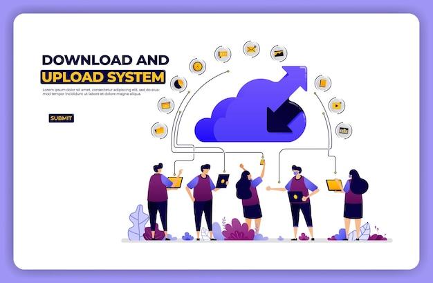 Bannerillustratie van download- en uploadsysteem. activiteit voor het delen van cloud-netwerken.