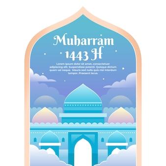 Bannerillustratie voor de maand muharram met blauwe moskee