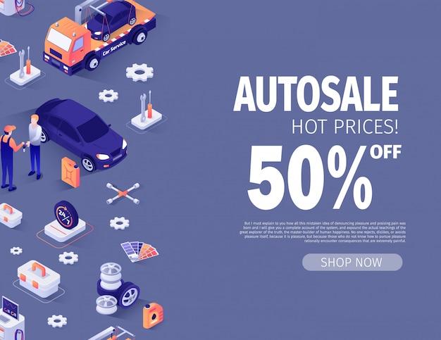 Bannermalplaatje aanbieden autosale tot 50 procent korting