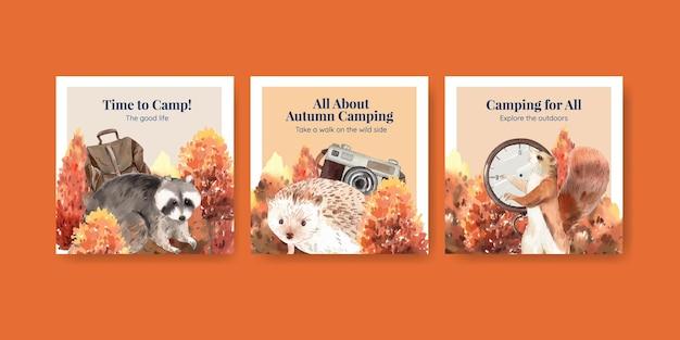 Bannermalplaatje ingesteld met herfstkampeerconcept, aquarelstijl