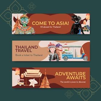 Bannermalplaatje ingesteld met reizen naar thailand voor adverteren in aquarel stijl
