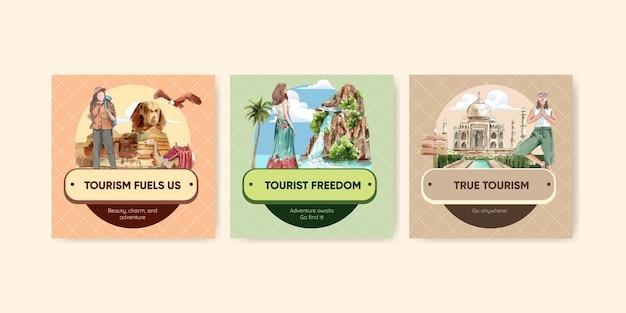 Bannermalplaatje ingesteld met wereldtoerismedag in aquarelstijl