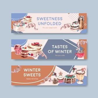 Bannermalplaatje ingesteld met wintersnoepjes in aquarel stijl