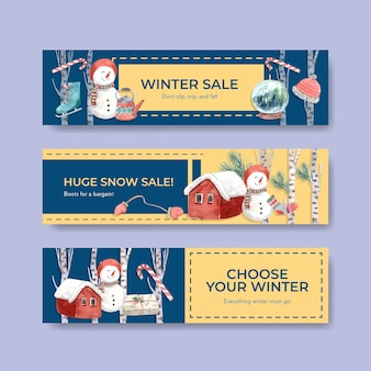 Bannermalplaatje ingesteld met winteruitverkoop om te adverteren in aquarel stijl