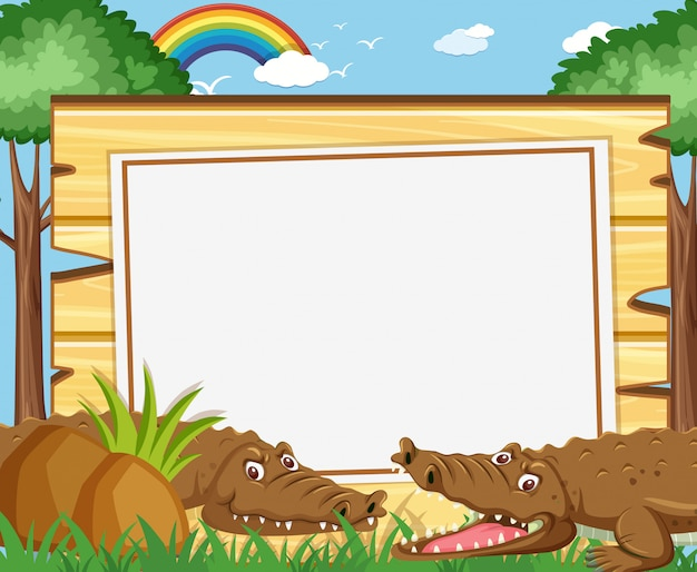 Bannermalplaatje met bruine krokodillen in het park