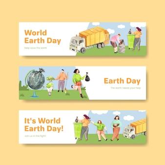 Bannermalplaatje met conceptontwerp van de dag van de aarde voor adverteren en marketing aquarel illustratie