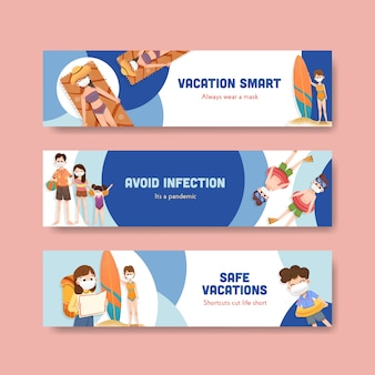 Bannermalplaatje met covid-19-preventieconceptontwerp voor een nieuwe normale levensstijl.