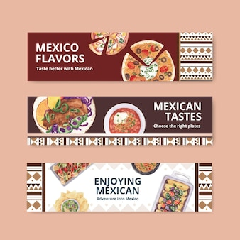 Bannermalplaatje met de illustratie van de het ontwerpwaterverf van de mexicaanse keuken