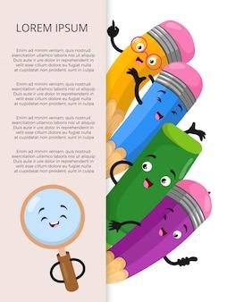 Bannermalplaatje met elementen van de beeldverhaalkantoorbehoeften