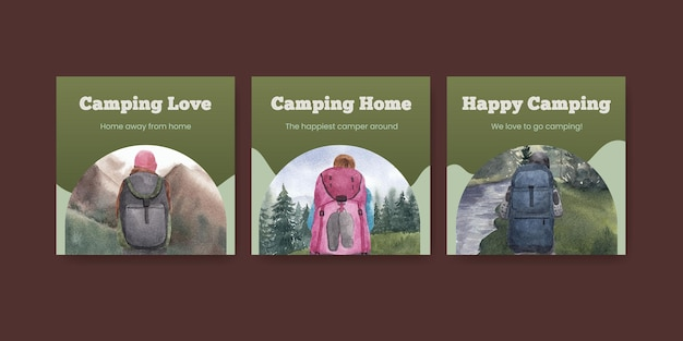Bannermalplaatje met gelukkig camperconcept