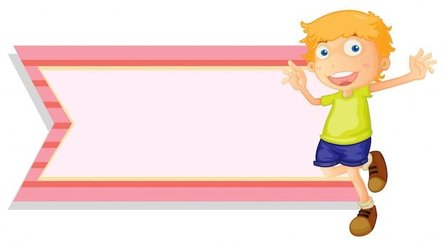 Bannermalplaatje met gelukkige jongen