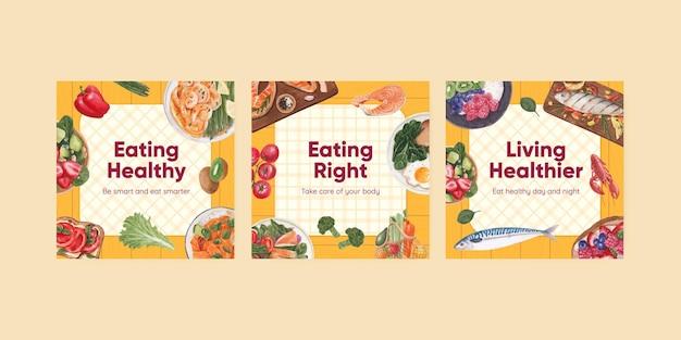 Bannermalplaatje met gezond voedselconcept, waterverfstijl