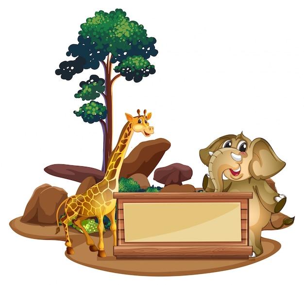 Bannermalplaatje met giraf en olifant