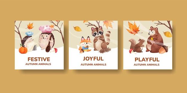 Bannermalplaatje met herfstdier in aquarelstijl