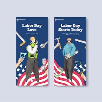 Bannermalplaatje met het concept van de arbeidsdag, aquarelstijl