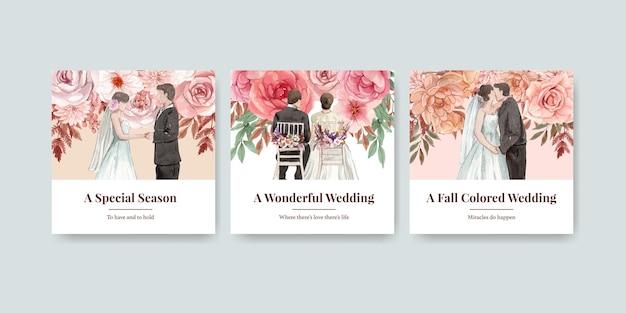 Bannermalplaatje met het concept van de huwelijksherfst in waterverfstijl