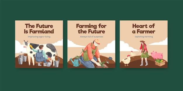 Bannermalplaatje met het concept van de nationale boerendag, aquarelstijl