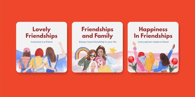 Bannermalplaatje met het concept van de nationale vriendschapsdag, aquarelstijl