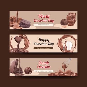 Bannermalplaatje met het concept van de wereldchocoladedag