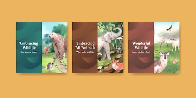 Bannermalplaatje met het concept van de werelddierendag in waterverfstijl