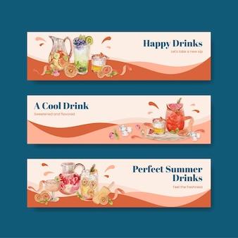 Bannermalplaatje met het concept van verfrissingen, waterverfstijl