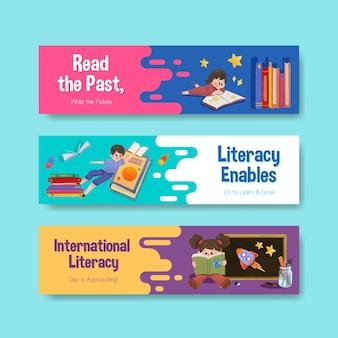 Bannermalplaatje met het conceptontwerp van de internationale alfabetiseringsdag voor marketing en folderwaterverf.
