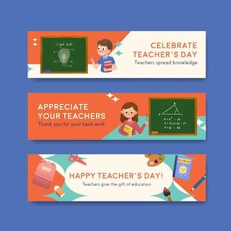 Bannermalplaatje met het conceptontwerp van de lerarendag