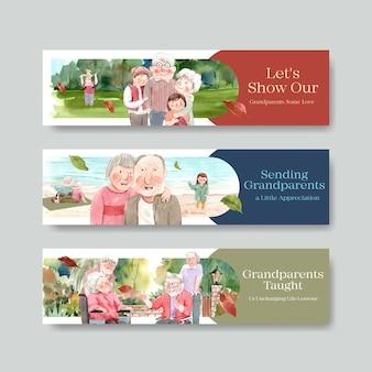 Bannermalplaatje met het conceptontwerp van de nationale grootoudersdag voor brochure en folderwaterverf.