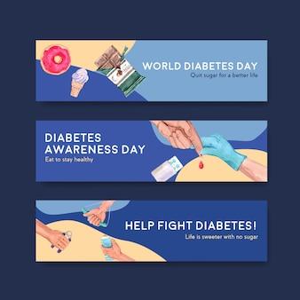Bannermalplaatje met het conceptontwerp van de werelddiabetesdag voor adverteren en marketing van waterverf vectorillustratie.