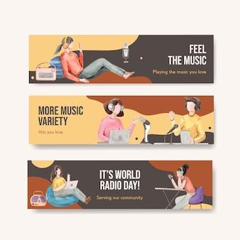 Bannermalplaatje met het conceptontwerp van de wereldradiodag voor adverteren en marketing aquarel illustratie