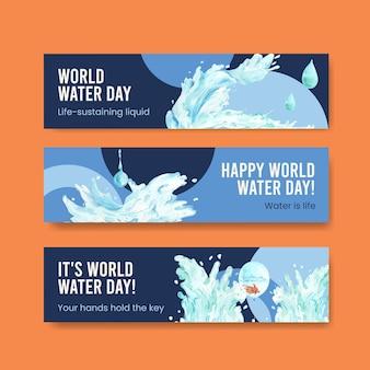 Bannermalplaatje met het conceptontwerp van de wereldwaterdag voor adverteren en marketing van waterverfillustratie