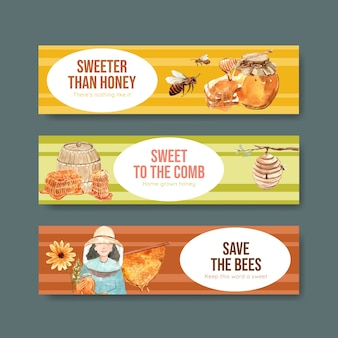 Bannermalplaatje met honing voor adverteren aquarel