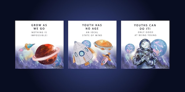 Bannermalplaatje met internationale jeugddag in aquarelstijl