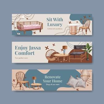 Bannermalplaatje met jassa-meubilairconceptontwerp voor adverteren en marketing van waterverf vectorillustratie