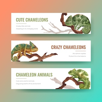 Bannermalplaatje met kameleonhagedis in waterverfstijl