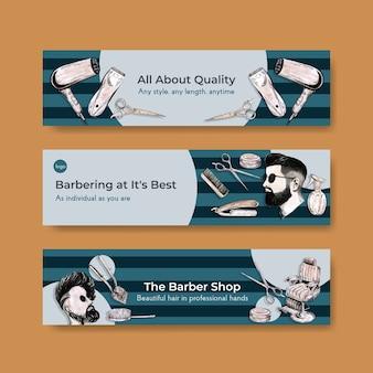 Bannermalplaatje met kapper conceptontwerp voor adverteren.