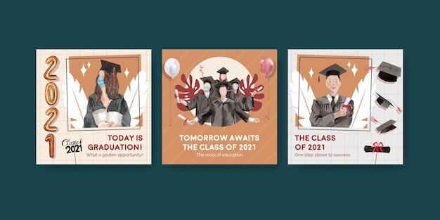 Bannermalplaatje met klasse van 2021 in aquarel stijl