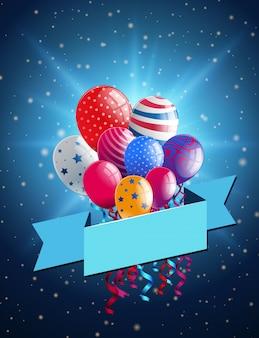 Bannermalplaatje met kleurrijke ballons op blauwe achtergrond