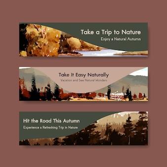 Bannermalplaatje met landschap in de herfstontwerp