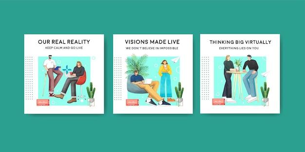 Bannermalplaatje met live gesprek concept