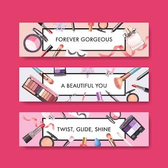 Bannermalplaatje met make-up conceptontwerp voor adverteren en marketing watercoclor