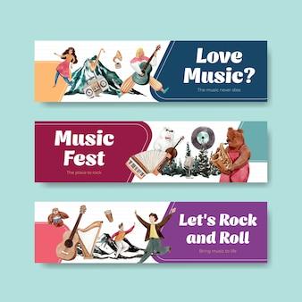 Bannermalplaatje met muziekfestival conceptontwerp voor adverteren en marketing aquarel vectorillustratie