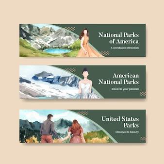 Bannermalplaatje met nationale parken van het concept van de verenigde staten, aquarelstijl Gratis Vector