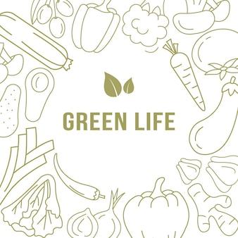 Bannermalplaatje met organische groenten.