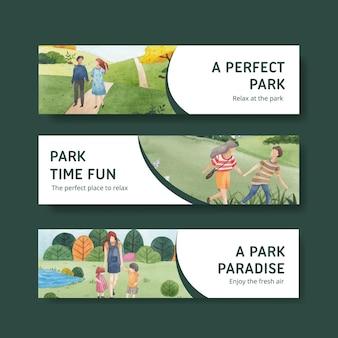 Bannermalplaatje met park en familieconceptontwerp voor adverteren waterverfillustratie